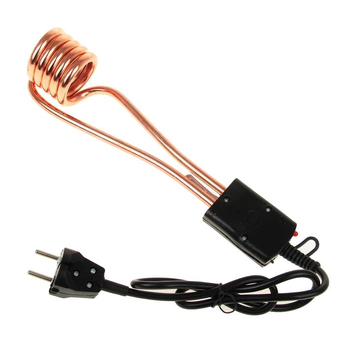 Электрокипятильник LuazON LEK 06, 1500 Вт, спираль пружина, индикатор, 28х6 см, 220В, черный