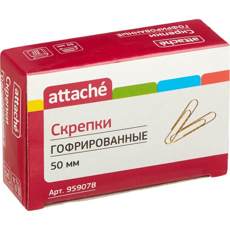 Скрепки Attache, 50 мм, гофрированные золотистые 30 шт.в карт.уп