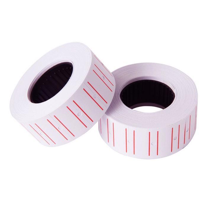 Этикет-лента 21.5 х 12 мм, белая с красной полосой, 700 этикеток