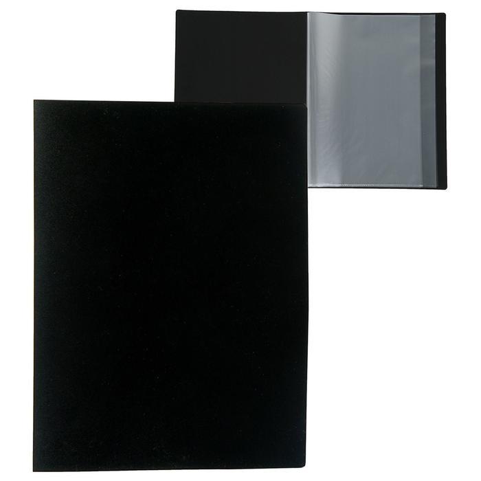 Папка A4, 10 прозрачных вкладышей, 500 мкм, Calligrata, песок, чёрная