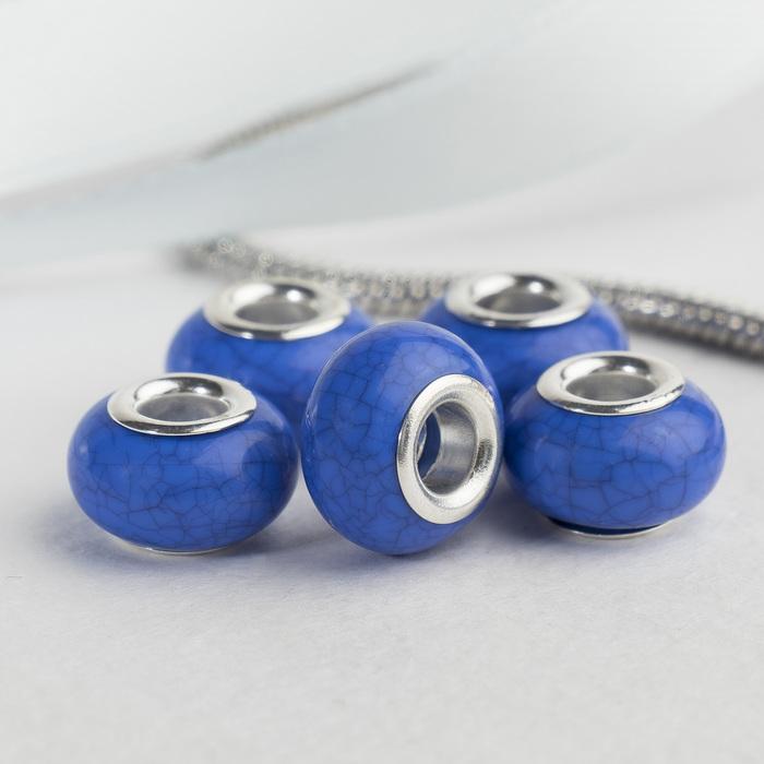 """Бусина """"Текстура"""" под магнезит, цвет синий в серебре"""