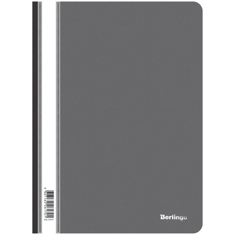 Папка-скоросшиватель пластик. Berlingo, А4, 180мкм, черная с прозр. верхом