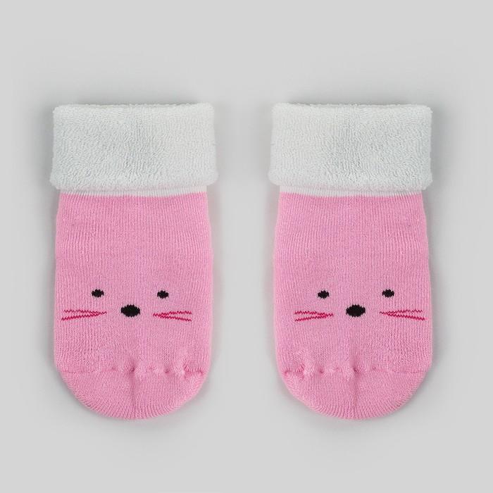 Носки детские махровые «Носик усики», светло-розовый, размер 12-14