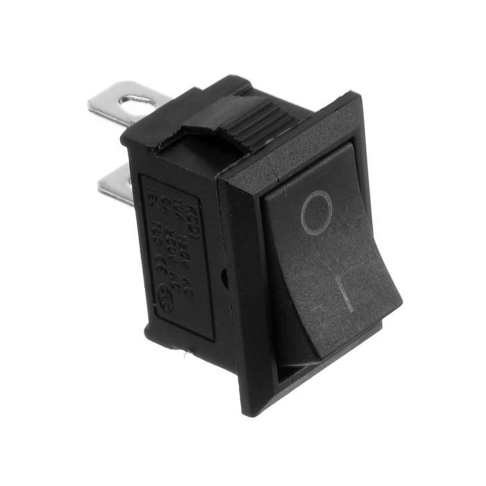 Клавишный выключатель, 250 В, 6 А, ON-OFF, 2c, черный, розничная упаковка.