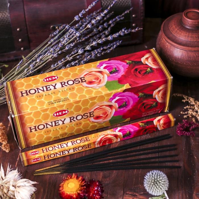 """Благовония """"HEM"""" 8 палочек угольные rose honey"""