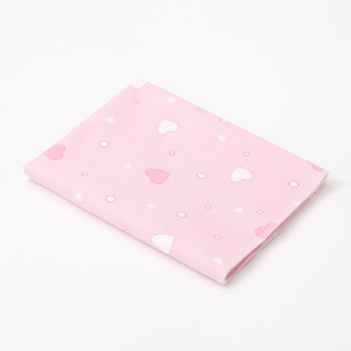 Пелёнка Крошка Я «Розовые сердца» 40?60 см, фланель, 160 г/м?, 100% хлопок