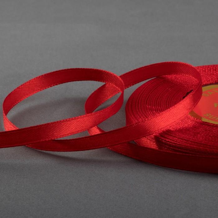 Лента атласная, 6 мм ? 27 м, цвет красный №26