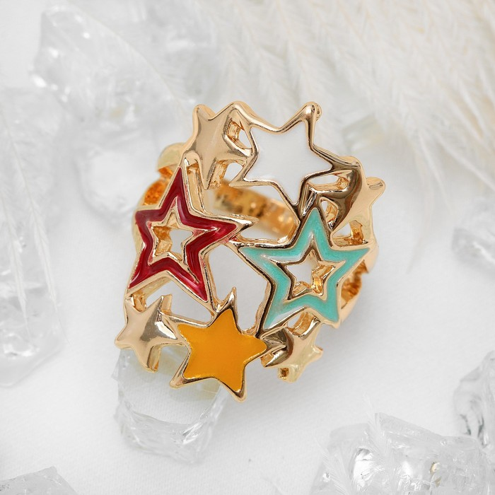 """Кольцо """"Звездное небо"""", цветное в золоте, размер 17"""