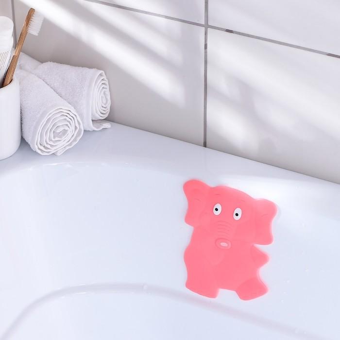 Мини-коврик для ванны «Слон», 11?14 см, цвет розовый