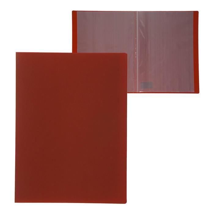 Папка A4, 10 прозрачных вкладышей, 500 мкм, Calligrata, песок, красная