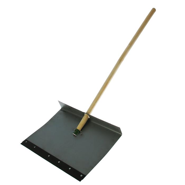 Лопата оцинкованная, ковш 500 ? 600 мм, однобортная, с планкой, деревянный черенок