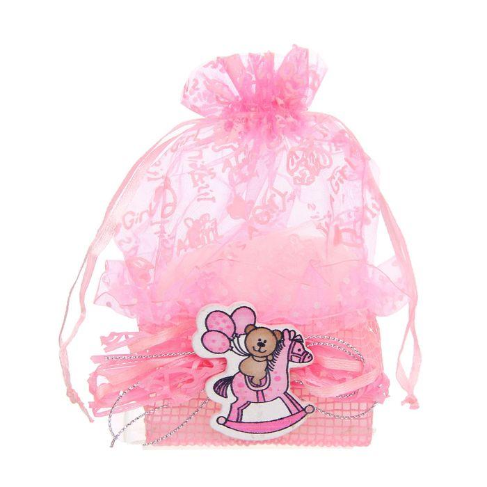 Бонбоньерка «Мишка с шарами на лошадке», цвет розовый