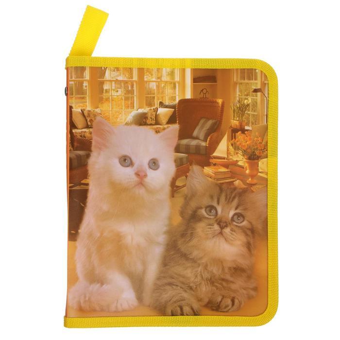 Папка для тетрадей формат А5 на молнии с 3-х сторон Две кошки