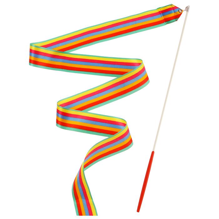 Лента гимнастическая с палочкой, 4 м, цвет радуга