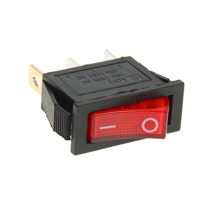 Выключатель клавишный REXANT RWB-404, 15А (3с), 250 В, ON-OFF, красный, с подсветкой