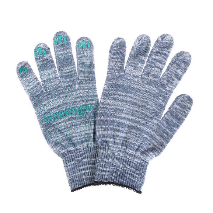 Перчатки, х/б, вязка 10 класс, 5 нитей, размер 9, с ПВХ точками, серые