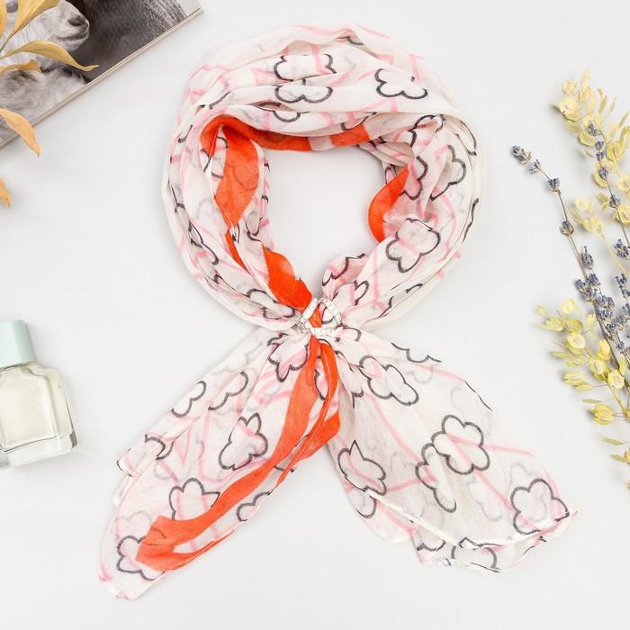 """Комплект """"Шарм"""" (платок женский 90*90 см, кольцо), цвет розовый"""