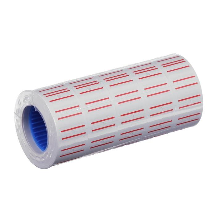 Этикетки для этикет-пистолета 21*12 мм, 600 штук, прямоугольные, белая с красными полосками