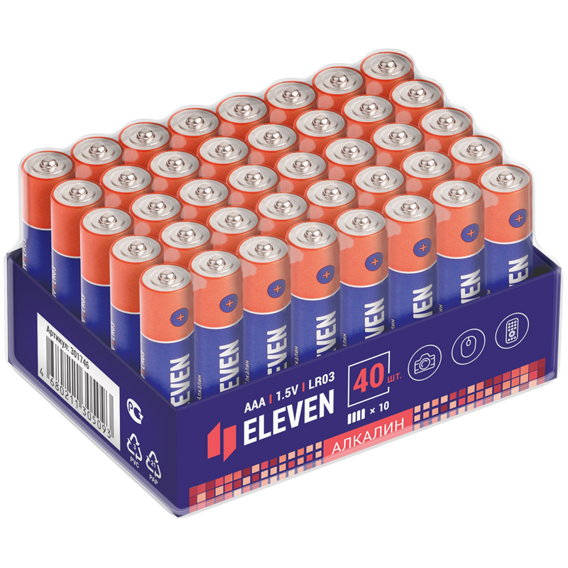 Батарейка Eleven AAA (LR03) алкалиновая, OS40