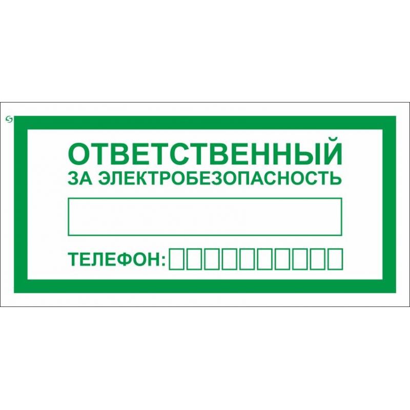 Знак безопасности А31 Ответственный за электробезопасн 100x200 мм, пленка