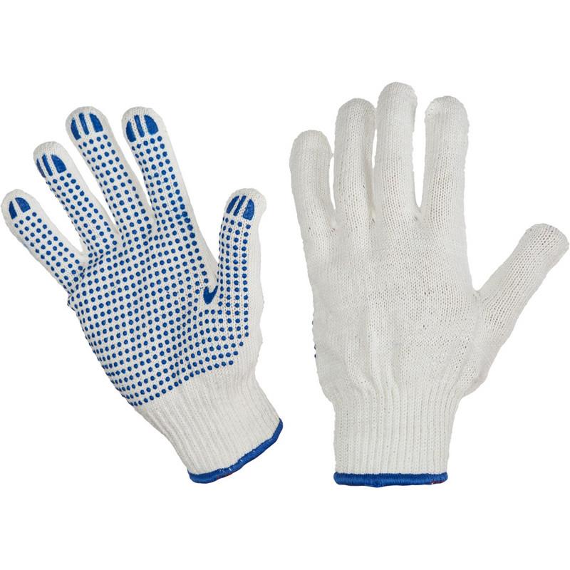 Перчатки защитные трикотажные ПВХ Точка 6 нитей 62г 10 класс ручной оверлок