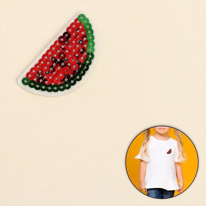 Термоаппликация «Арбуз», с пайетками, 6 ? 3 см, цвет красный