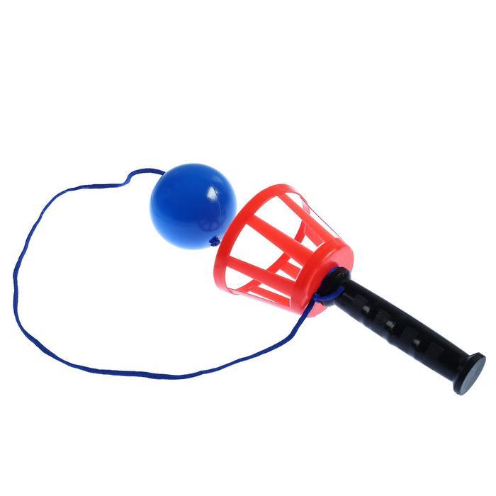"""Игра """"Поймай мяч"""", корзинка d-10,5-с ручкой + мячик(d-7,5 см) на шнурке, 1 игрок, микс"""