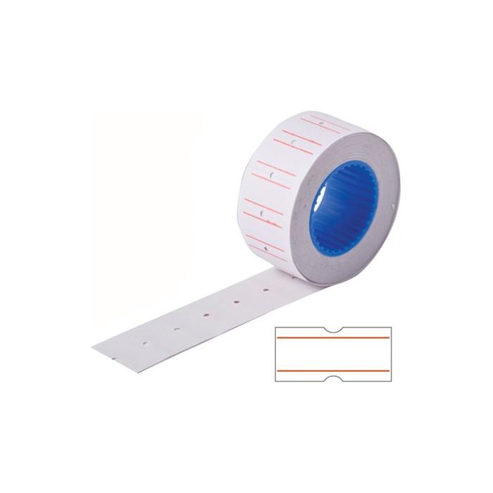 Этикет-лента 21,5 х 12 мм, белая с красной полосой, 800 этикеток