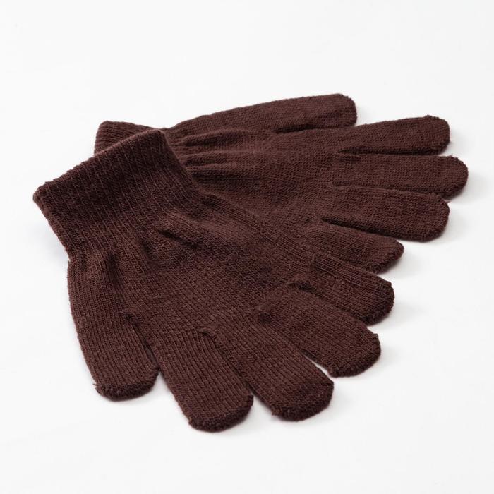 """Перчатки детские MINAKU """"Однотонные"""",цв. коричневый, р-р 16 (10-12 лет)"""