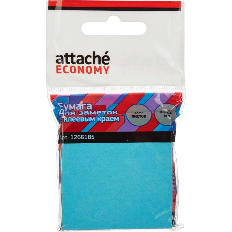 Стикеры Attache Economy с клеев.краем 51x51мм 100 листов неоновый синий