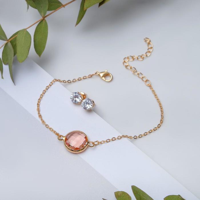 """Набор 2 предмета: браслет, пуссеты """"Модерн"""" витраж, цвет бело-розовый в золоте"""