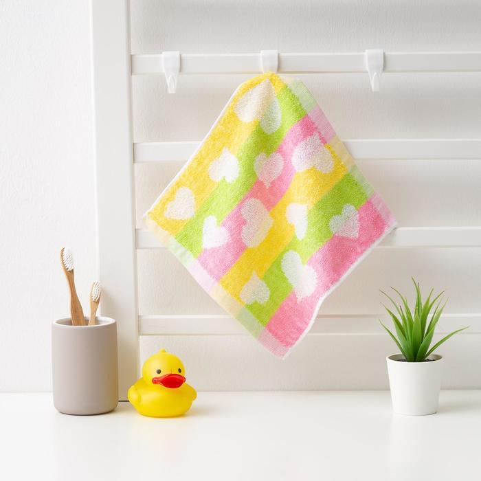 """Полотенце махровое Крошка Я """"Рыбки"""" 25*25 см, цв.желтый/розовый, 100% хлопок, 360 гр/м2"""