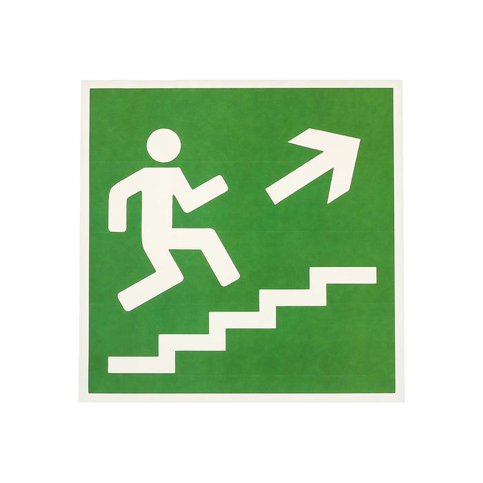 """Наклейка """"Направление к эвакуационному выходу по лестнице вверх"""", 18*18 см, цвет зелёный"""