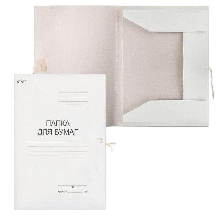 Папка для бумаг А4 на завязках 310 г/м2 STAFF, картонная до 200 листов