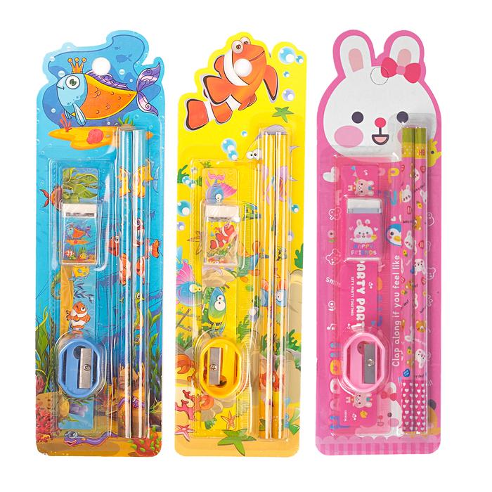 Набор канцелярский, детский, 5 предметов: 2 карандаша, ластик, точилка, линейка, МИКС