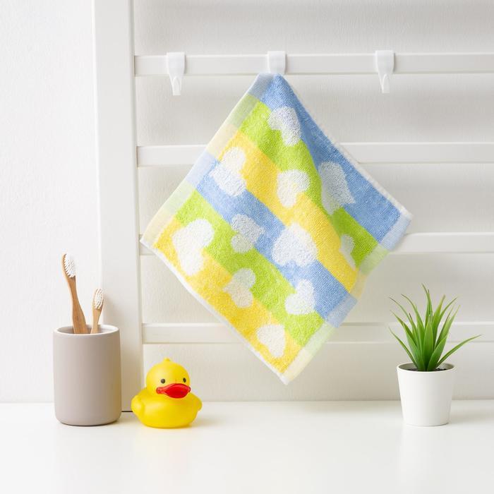 "Полотенце махровое Крошка Я ""Сердечки"" 25*25 см, цв.желтый/синий, 100% хлопок, 360 гр/м2"
