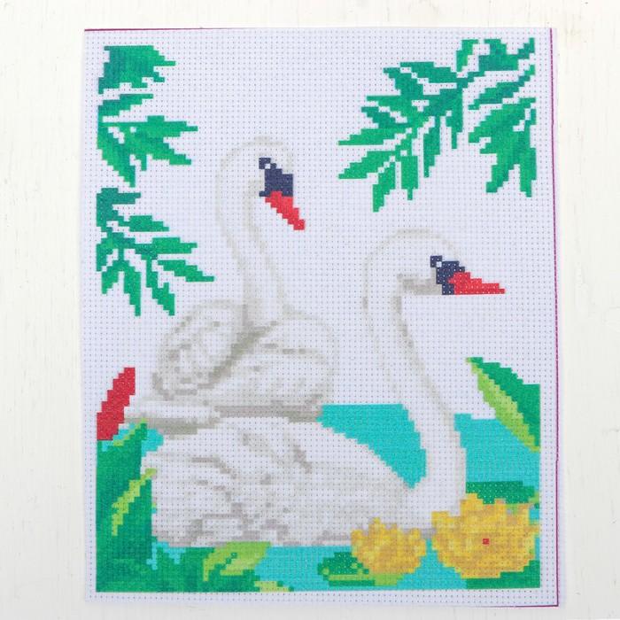 """Канва для вышивки крестиком """"Лебеди на озере"""", 25*20 см"""