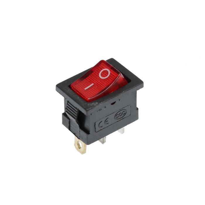 Клавишный выключатель, 250 В, 6 А, ON-OFF, 3с, красный, с подсветкой