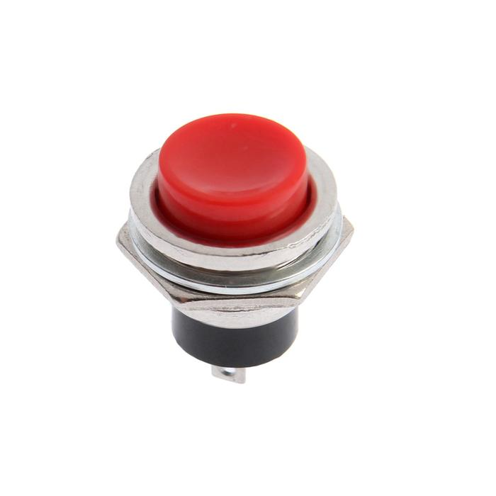 Выключатель-кнопка, 250 В, 2 А, ON-OFF, 2с, d=16,2 мм, без фиксации, металл, красная