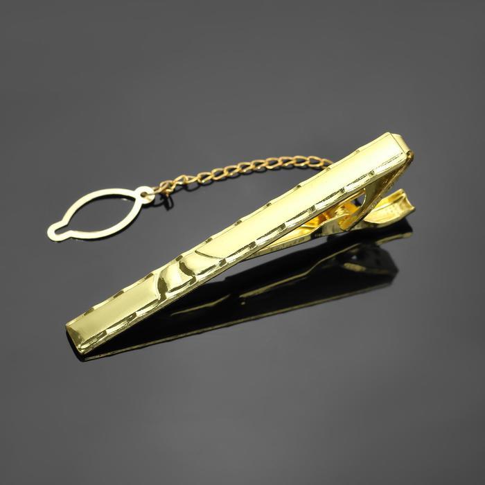 """Зажим для галстука стальной """"Классический"""" со стразой, цвет белый в золоте"""