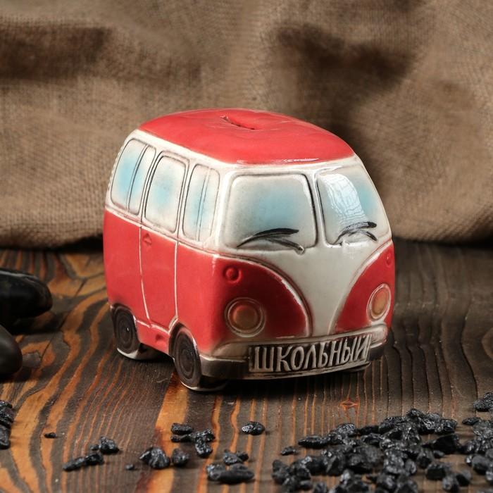 "Копилка ""Автобус"", глянец, красная, 11 см"