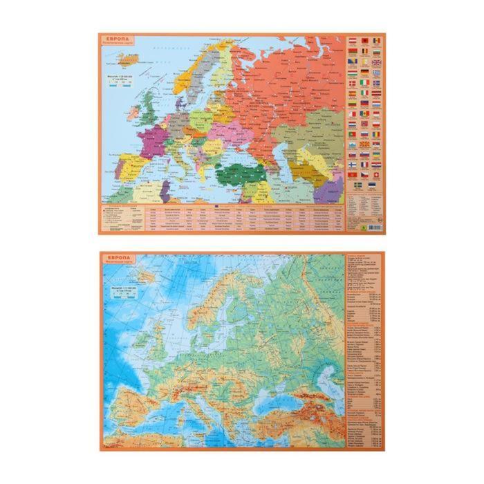 Планшетная карта Европы, А3 политическая/физическая, двусторонняя.