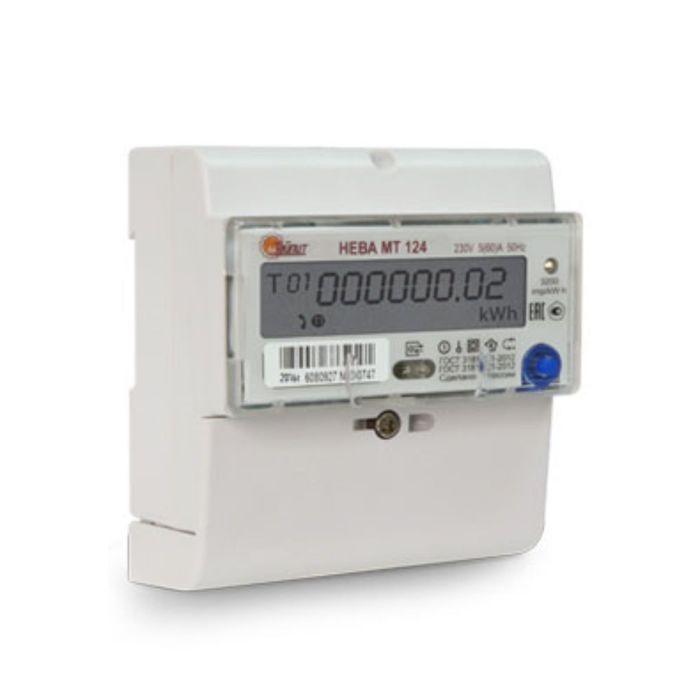 Счетчик НЕВА МТ 124 AS E4P, 1ф, 5-60 А, многотарифный, GMT +5, ЕКБ
