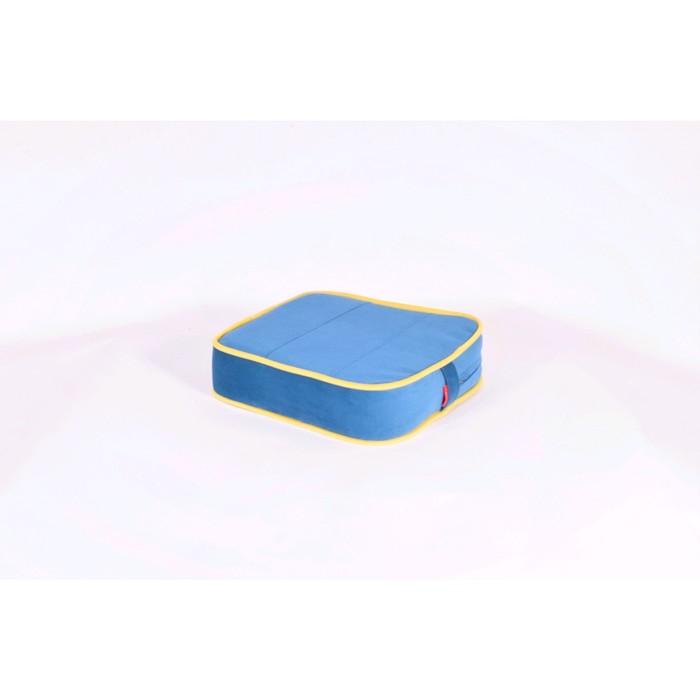 Подушка-пуф передвижной «Моби», размер 40 ? 40 см, синий/жёлтый, велюр