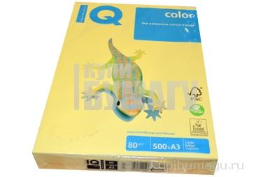 Бумага IQ (АйКью) color А3, 80 г/м,  пастель желтая (цена за 1 лист) YE23 ш/к 00297