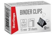 Зажимы для бумаг 15мм, Berlingo, черные, картонная коробка