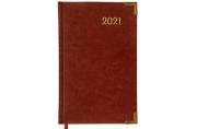 2021 Ежедневник датированный 2021 А5 (138х213мм) BRAUBERG Senator, кожзам, коричневый, 111410