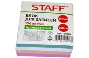Блок для записей STAFF проклеенный, куб 8*8 см, 350 листов, цветной, чередование с белым, 120384