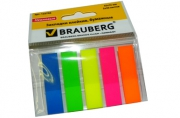 Закладки клейкие пластиковые, 45х12мм, 5 цветов х 20 листовНЕОНОВЫЕ, на пласт. основан, BRAUBERG