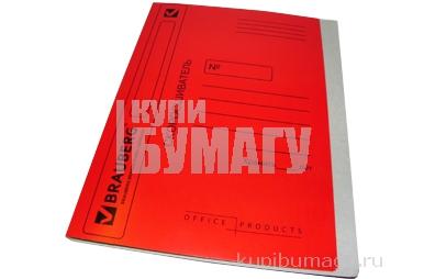 Скоросшиватель карт. мел. BRAUBERG, гарант. пл. 360г/кв. м., красный, до 200л.